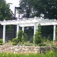 Tennis court trellis stained white